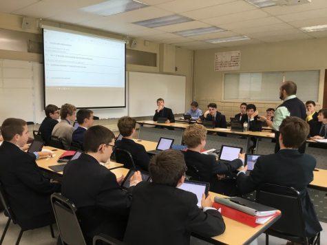 Mr. Mario Morales, Latin teacher, incorporates iPads into his classwork.