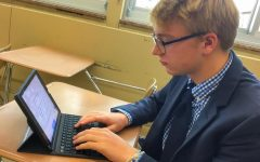 Will Hourihan '20 using Google Docs on his iPad.