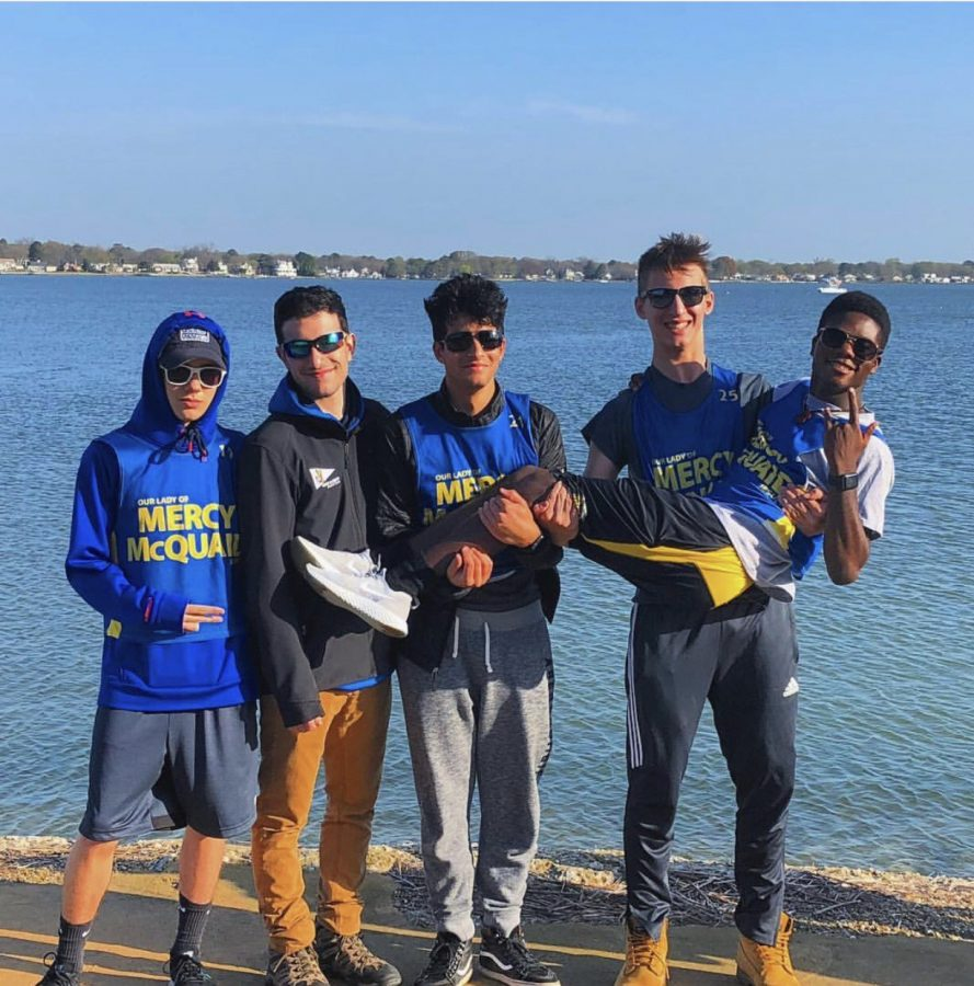 Members+of+the+McQuaid+Sailing+team+pose+during+their+trip+to+Hampton%2C+Virginia.