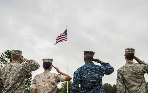 Servicemen and women of various branches salute our flag.