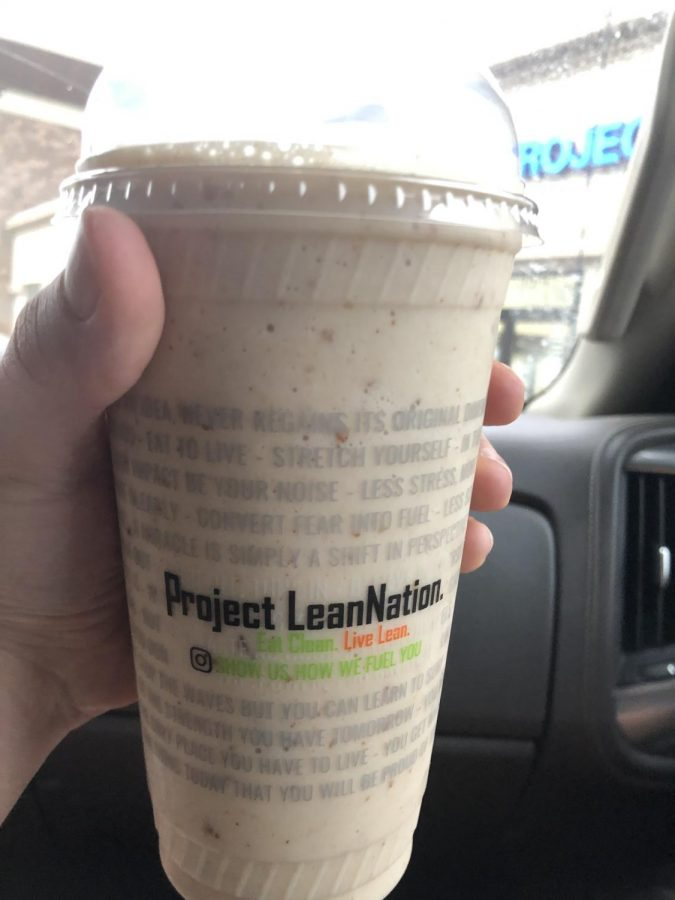 The 'Hangover' shake, at Project Lean Nation. This shake was cool and refreshing following a workout.