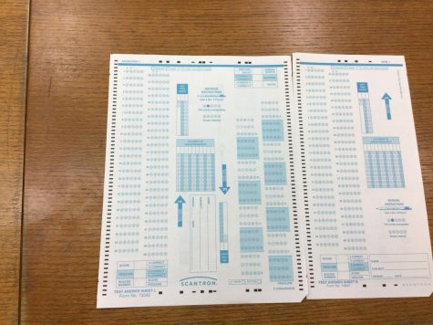 These unused scantrons in the office at McQuaid Jesuit are usually used for Midterm Exams. Because COVID-19 cases are on the rise, Midterm Exams are cancelled and testing materials like these won't be used until further notice.