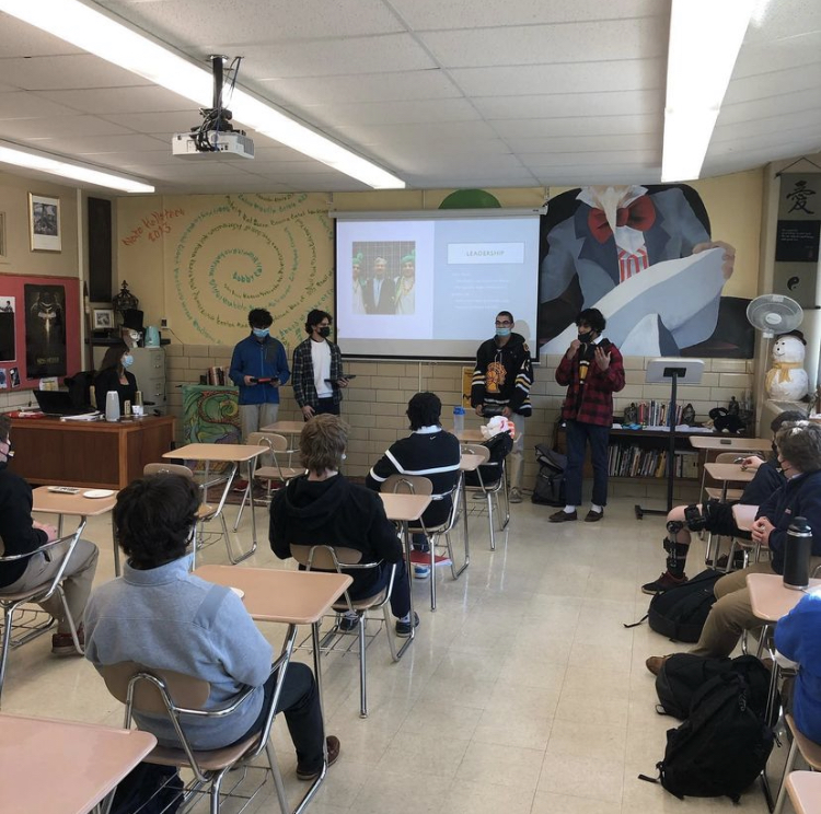 Rohan Vyas '22, Jerome Job '22, Gavin Patel '22, and Kabir Deol '22 addressing the first ever Indian Interest Club meeting at McQuaid, on March 5th. Jerome Job talking about some of the topics that will be discussed during IIC meetings.